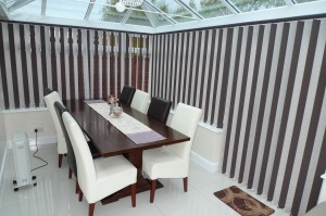 Image of Multi Colour Vertical Blind in Conservatory